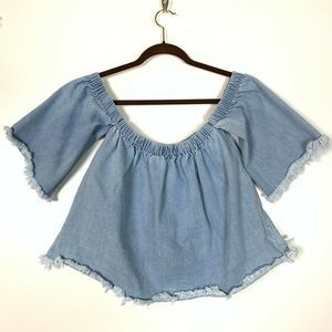 J.O.A Off Shoulder Top Medium Denim Frayed Boho